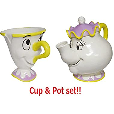 SunArt Disney Beauty And The Beast Chip Mug cup & Mrs. Potts Tea Pot Set SAN2691 & SAN2690