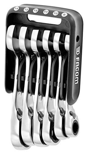 Facom 467BS.JP6PB - Llaves mixtas de carraca cortas con funda portátil, color negro