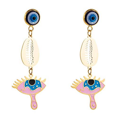 Muschel Rote Lippen Türkisch Blaue Augentropfen Ohrringe Gold Farbe Lange Schlenker Ohrringe Modeschmuck Für Frauen Weibliche Mädchen