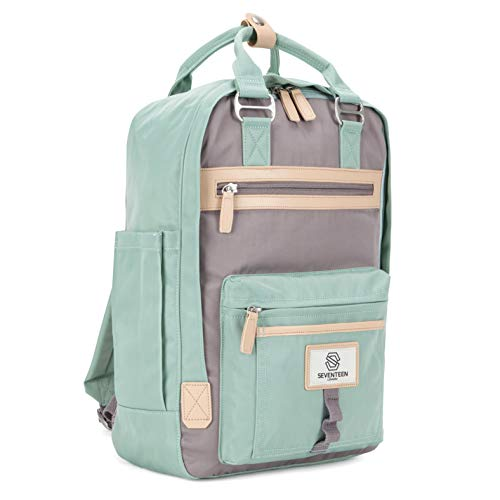 """SEVENTEEN LONDON – Modern Urban Unisex Pastel Green & Grey 'Wimbledon' Backpack in a Classic Slim Simple Design – Fits Laptop up to 13"""""""