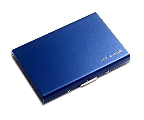 Steel Smart RFID Kreditkartenetui Edelstahl - ID & EC Kartenhalter — Kartenetui RFID Schutz - Geldbörse Damen & Herren, edles Portemonnaie — blau