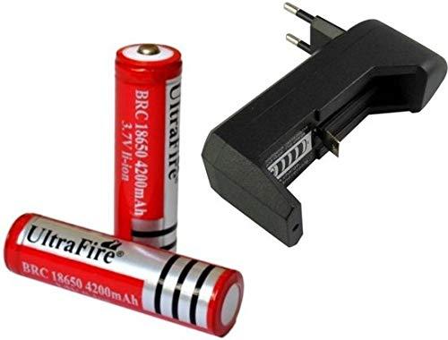 2x UltraFire Oplaadbare 18650 3.7V 4200 mAh Batterijen + Batterij Oplader 18650