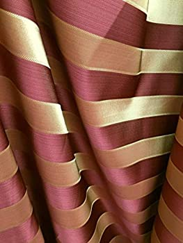 Burgundy Gold Striped Brocade Upholstery Drapery Fabric  110 in  Sold by The Yard
