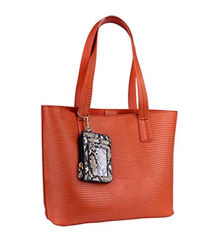 SIX Shoppingbag aus Kunstleder mit Kroko-Prägung, kurzen Henkeln, herausknöpfbarer Innentasche und Portemonnaie im Python-Look (726-885)