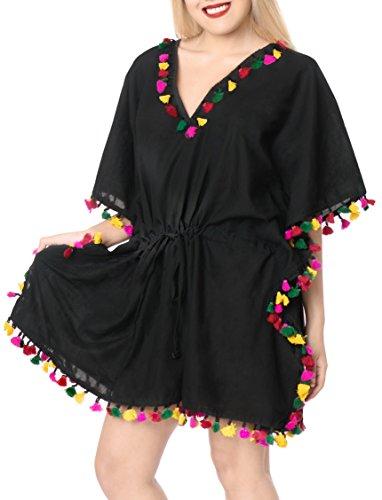 LA LEELA Vintage Piratas Calabaza Skulls Cráneo Cosplay Disfraces De Fiesta De Halloween Costume kimono blusa de la playa de baño bikini traje de desgaste de la cubierta pompón hasta varios Negro_B559