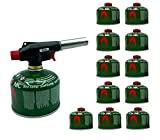 Clearfee Set   230 g de cartucho de válvula de rosca + quemador de soldadura para cartuchos de gas con válvula de rosca   Quemador Bunsen   Cartucho de gas butano EN417  (12 x 230 g + quemador Bunsen)