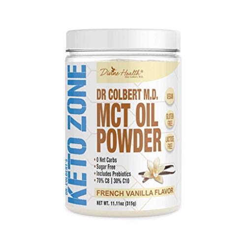 Dr. Colbert's Keto Zone MCT Oil Powder - Vegan - French Vanilla Flavour - 315 Grams - 30 Servings