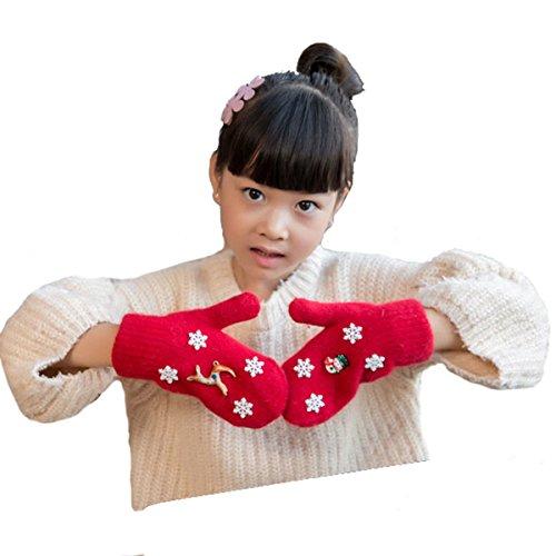 Butterme petits enfants Snowman Cute & Moose & Snowflake Gants d'hiver en laine chaude gants tricotés épaisse laine polaire gants doublés cadeau Gant magique mitaines de Noël pour les filles tout-petits garçons