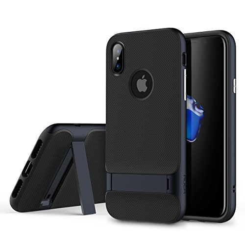 ROCK Royce Stand Series Case, Dual Layer PC+TPU With Kickstand Shockproof Thin & Slim Case For iPhone X ( Color : Navy Blue )