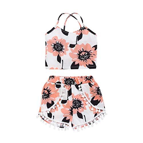 Costume bébé Caraco Fleuri + Short à Franges Nouveau-né Infantile Floral Gilet Tops Gland Shorts Tenues Vêtements D'été (0-24M)