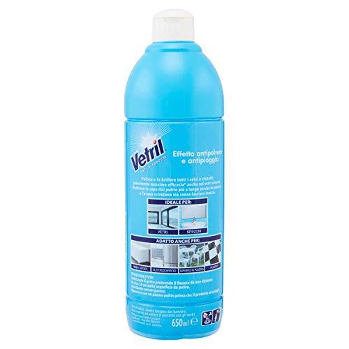 Vetril, Detergente Vetri e Specchi, Multisuperficie, con Azione Antipolvere e Antipioggia per una Brillantezza Senza Aloni, 650 ml x 8 Pezzi