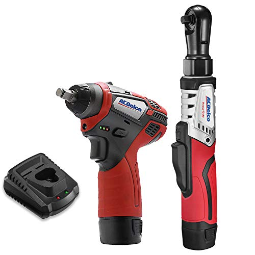 ACDelco G12 Series 2-Tool Combo Kit- 3/8 in. Brushless Ratchet Wrench 3/8 in. Power Impact Wrench, two battery, charger, ARW12103-K1