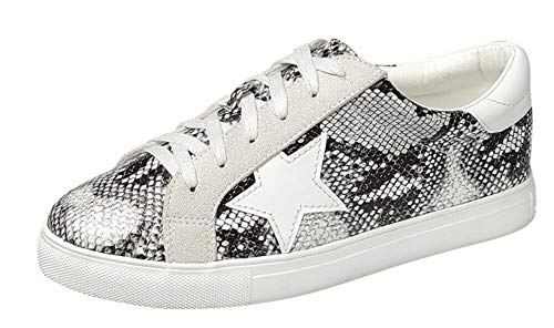 Forever Collection Womens Low Top Sneaker Star Lace Up, Snake, 6.5