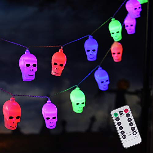 20 LED Halloween Skull String Lights, 8 Modes Fairy Lights with Remote, Waterproof Battery Operated Halloween Lights for Outdoor Indoor Party Patio Halloween Decoration (Multi)