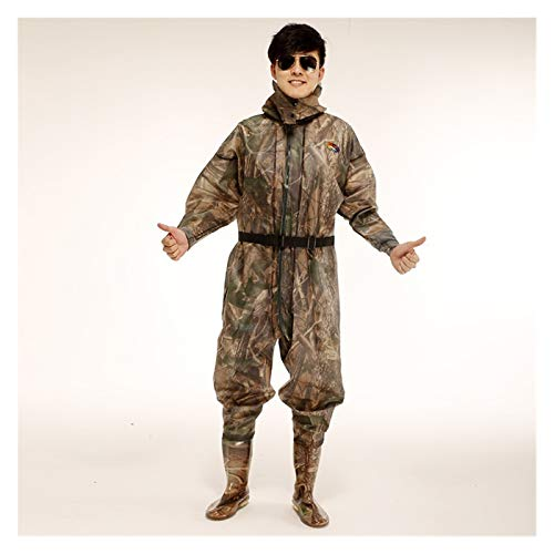 Lucky DuDu Ganzer Körper mit Kapuze Jumpsuits Angeln Kleidung Anti-Tragen wasserdichte Jagdwatschen (Farbe : Camouflage, Size : EU 47 Boot)