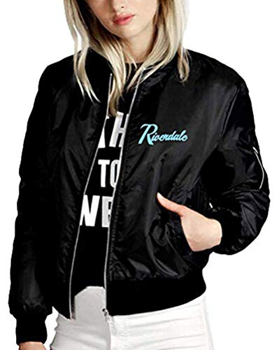 Yesgirl Riverdale Damen Teenager Mädchen Southside Serpents Herren Coole Jacket Frauen Baseball Winterjacke Pullover Pulli Sweatshirt mit Reißverschluss Langarm Outwear C Schwarz F X-Small
