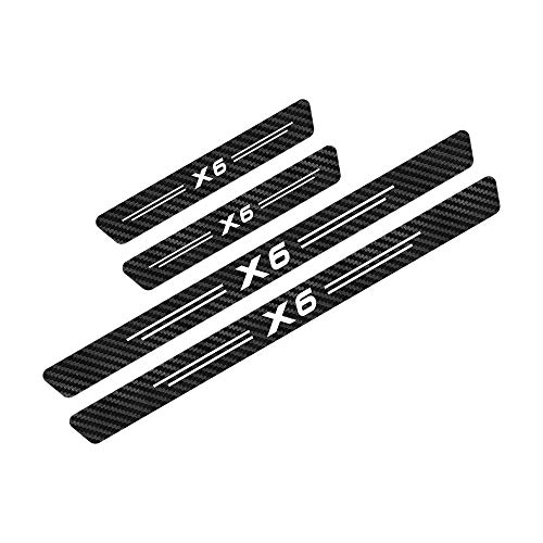 interslife 4pcs Pegatinas Engomada del Umbral del Coche para BMW X6, Accesorios de Umbral, Resistente A Rayones,Protector de Umbral de Puerta de Coche de Fibra de Carbono