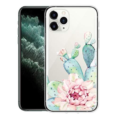 ZhuoFan Funda para iPhone 11 Pro MAX 2019,6.5'' Transparente Silicona Caso Carcasa de telefono Suave Slim Ultrafina Protectora Bumper Case Cover Movil Cárcasa Fundas para iPhone 11Pro MAX,Cactus