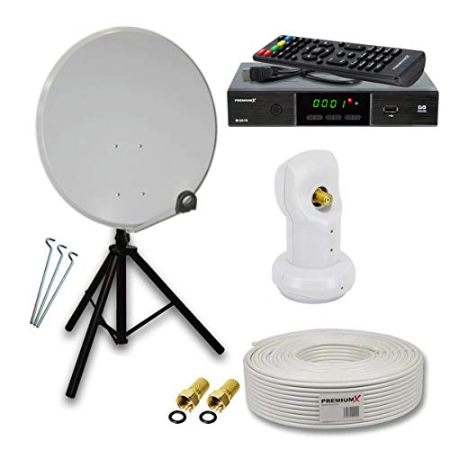 PremiumX Camping Sat Anlage Set 45cm Antenne Hellgrau Single LNB Dreibein Stativ Antnnenkabel HDTV DVB-S2 Satelliten-Receiver