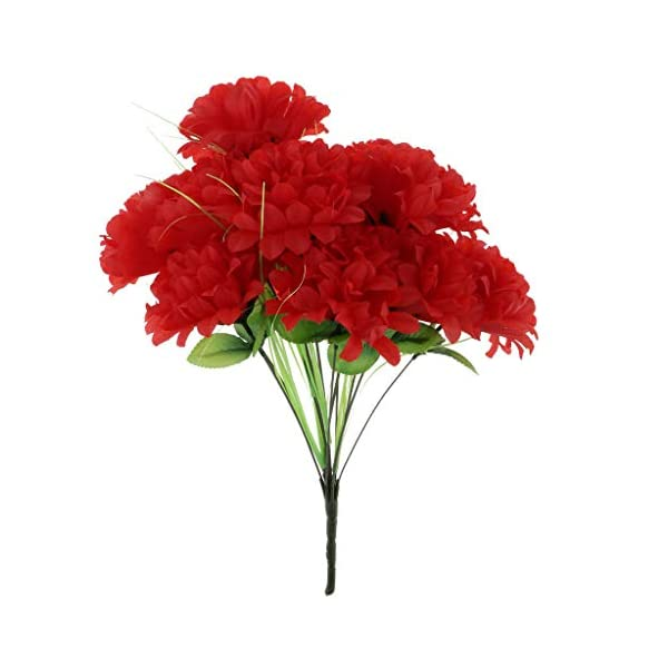 Grave Flower Chrysanthemum Funeral Memorial Grave Silk Flower |Color – Dark red|