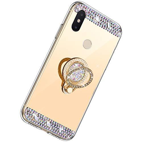 Herbests Kompatibel mit Xiaomi Mi 8 SE Hülle Glitzer Kristall Strass Diamant Silikon Handyhülle mit Ring Halter Ständer Schutzhülle Überzug Spiegel Clear View Handytasche,Gold