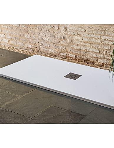 Jardin202 70X180 - Plato de Ducha Textura sillar | Blanco | Desagüe Centrado