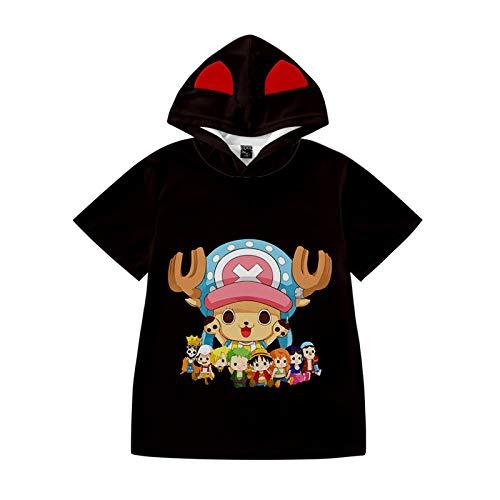 One Piece - Camisetas de manga corta con diseo de anime japons, 3D, para verano, unisex, cuello redondo, para chicos y chicas, Luffy Chopper, Zoro Nami Sanji Whitebeard H 110 cm