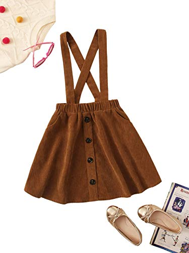 Romwe Girl's Cute Corduroy Button Front Criss Cross Back Elastic Waist Solid Overall Jumper Dress Brown 8Y