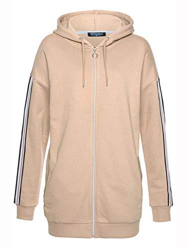 TrendiMax Damen Sweatjacke Kapuzenjacke Full Zip Sweater Langer Hoodie Kapuzenpullover (Beige Streifen, S)