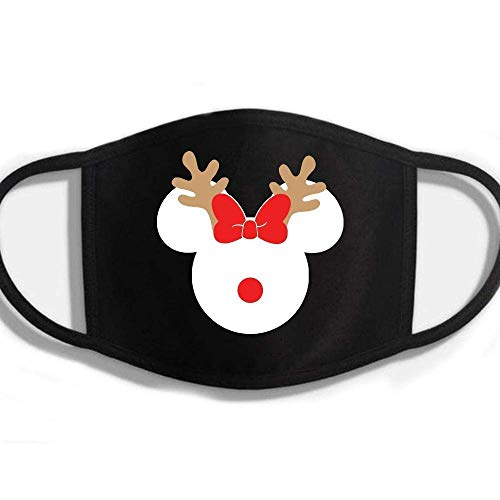 Merry Christmas Holiday Minnie Mickey Reindeer Rudy Red Nose Reusable Washable Halloween Face Mask Kids Adults Mouth Covering