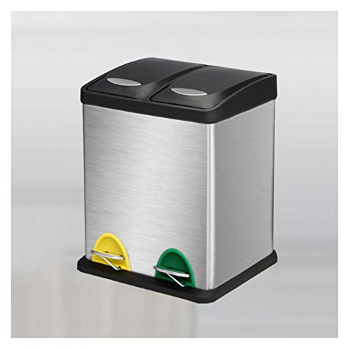 Mülleimer Trocken- und Nassmüll Klassifizierung Mülleimer großer Kapazitäts-Pedal-Öffnung Deckel Garbage Can Edelstahl Sorting Trash Can, 4,2 Gallonen / 6,3 Gallonen Abfalleimer ( Size : Silver-16L )