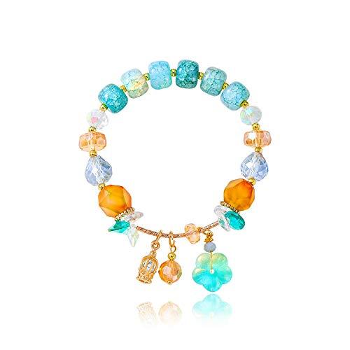 XBJ Pulsera de Mujer, Pulsera de Cuentas de Piedra Natural Hecha a Mano con múltiples Elementos, Pulsera de Cristal con Borla de Corona de Flores pequeñas