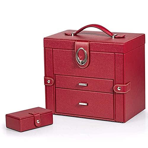 POUAOK Joyero Grande de Cuero, joyero con diseño de manija de Doble Puerta de 3 Capas, joyero con Compartimentos Secretos para Anillos.