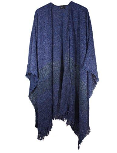 Wrap, Ruana Wraps for Women, Wool Shawl, Irish Gifts for Her, Biddy Murphy, Made in Ireland, 85% Lambswool, 54' X 72', Soft, Lightweight, Warm, Kerry Mountain Blue