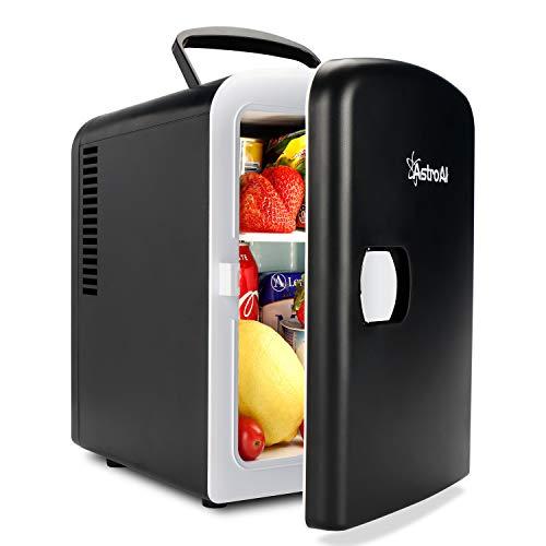 AstroAI 2 in 1 Mini Kühlschrank 4 Liter Fridge mit Kühl- und Heizfunktion 12 Volt am Zigarettenanzünder und 230 Volt Steckdose für Autos, Büros und Schlafsäle, Schwarz