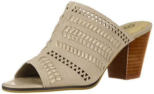 Bella Vita Women's Koraline Slide Sandal on Block Heel Shoe, Cloud Suede Leather, 12 2W US