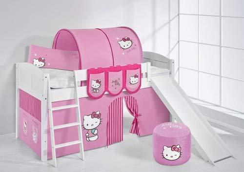 Lit surélevé ludique IDA 4106 90x200 cm Hello Kitty rose - Lit surélevé évolutif LILOKIDS - blanc laqué - avec toboggan et rideaux