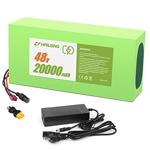 48V 20AH Lithium Battery, 48V Ebike Battery 20AH with 2A fast changer, XT60 Connector Plug and 30A bms for 500W 750W 1000W Electric Bicycle Motor(48V 20Ah 200W-1000W)