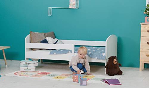 Kinderbett Jugendbett - Bett für Kinder - Weiß aus Holz - Kiefer Massiv - Schublade und Rausfallschutz - für Mädchen und Junge - Toucan 160 x 80 cm