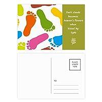 カラフルな足跡をモダンなスタイルのファッション・ポスター 詩のポストカードセットサンクスカード郵送側20個