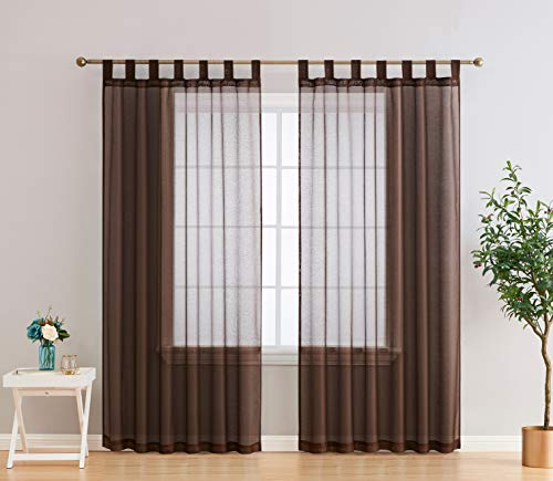 HLC.ME Addison Semi Sheer Light Filtering Transparent Tab Top Lightweight Floor Length Window Curtains Drapery Panels for Bedroom & Living Room, 2 Panels (54 x 84 Inch, Chocolate Brown)