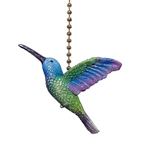 Colorido hummingbird 3D ventilador de techo tirador – morado, azul y verde