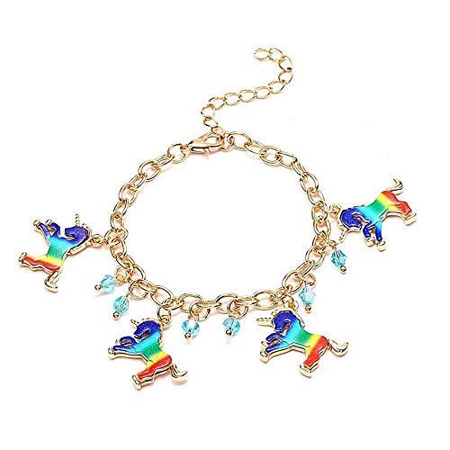 Armband - multicolor - eenhoorn - gouden kleur - meisje - regenboog - armband - hangers - meisje - vrouw - cadeau-idee - verjaardag - kerstmis