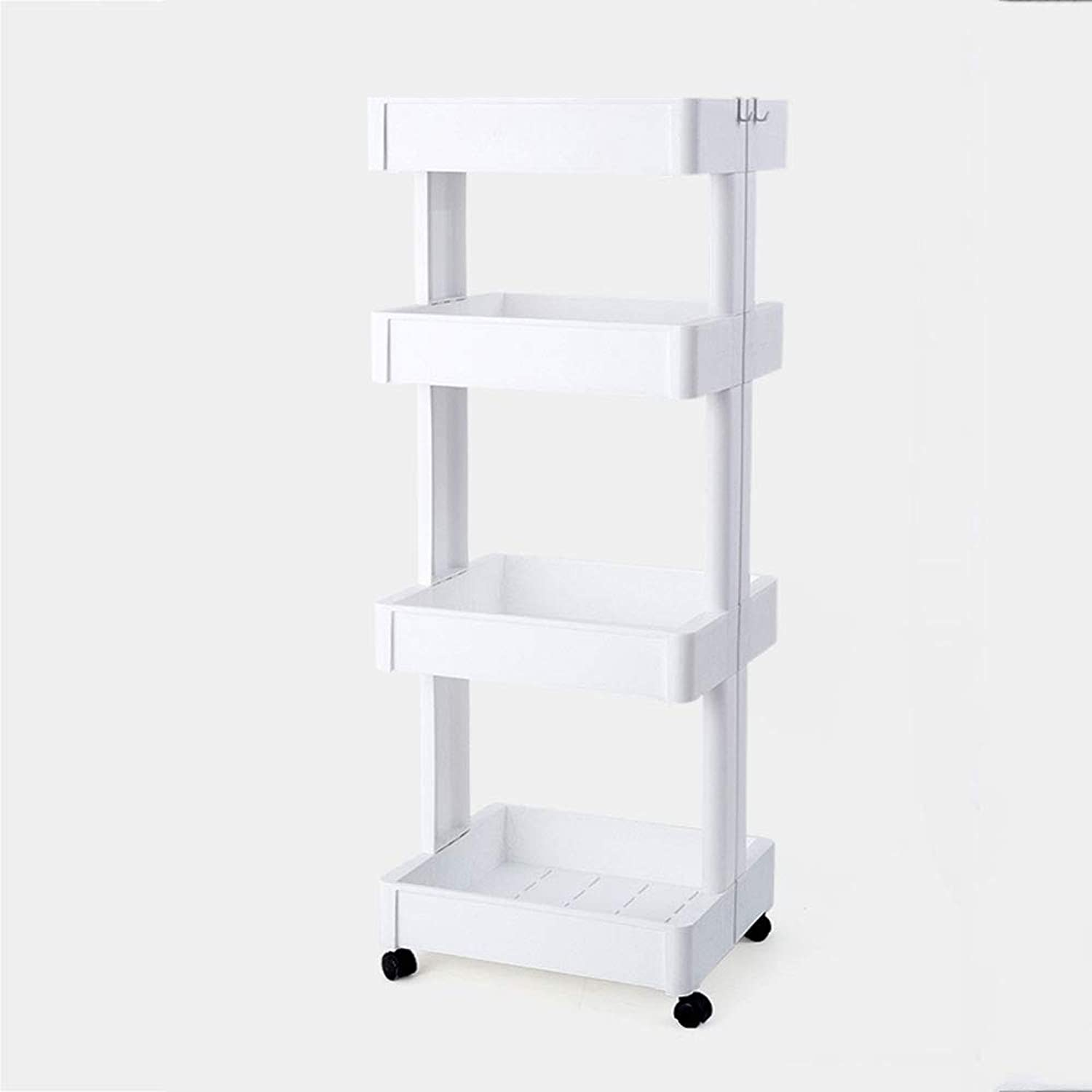LCTZWJ 3&4-Shelving Unit, Modern Storage Organisation Rack with Side Hooks,Belt Pulley is Movable to The Bathroom, Kitchen, Bedroom, Balcony (color   B, Size   Four Layers)