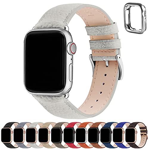 Correa para Apple Watch, Fullmosa Correas de Cuero Genuino Compatible con Apple Watch SE Series 7 Series 6 Series 5 Series 4, Series 3/2/1, Blanco marfil + hebilla de Plata ,38mm/40mm/41mm