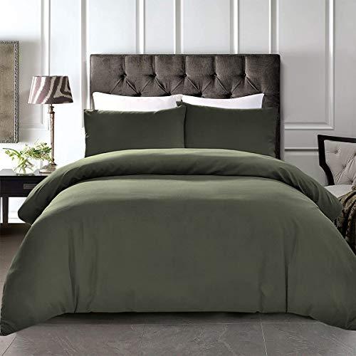 Bedding Buys Juego de Cama de percal de algodón Egipcio de 200 Hilos, para Cama Doble, King y superking, algodón, Verde Oliva, Matrimonio