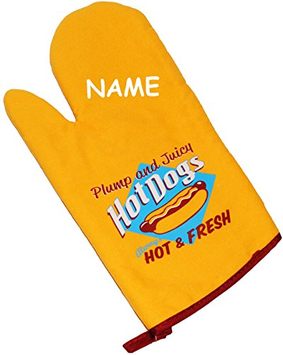 Topfhandschuh -  Hot Dogs / Hot & Fresh  - incl. Name - mit extra Langen Schaft / Grillhandschuhe - Topfhandschuhe - 100 % Baumwolle / Leinen - Retro Vintag..