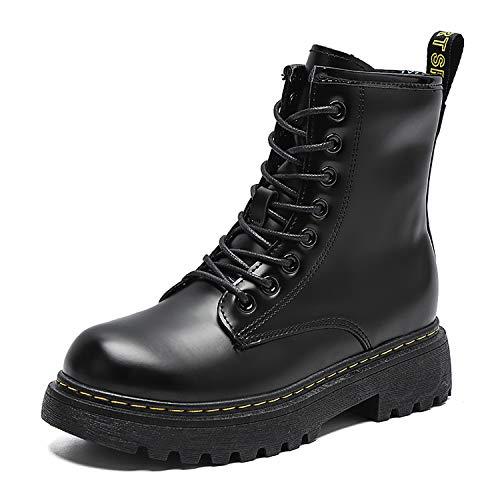 JXILY Botas de tobillo con plataforma holográfica con zapatos gruesos para mujer, cordones a juego de color para mujer, botas de piel de tacón alto de gran tamaño, plataforma alta, blanco, 40 EU