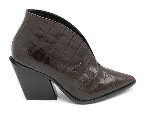 Elvio Zanon EK2601 Stiefel, Krokodilleder, bedruckt, Burgunderrot, Größe 39