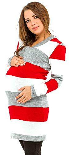 Happy Mama Damen Umstands Buntgestreiftes Strickkleid Pulloverkleid. 405p (Rot, 36-40, ONE Size)